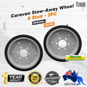 2X UHD Caravan Stow-Away Wheel 6 Stud Carastow Storage Wheel Trailer LandCruiser