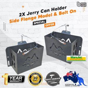 2X Jerry Can Holder – With Side Flange Model, Bolt On, Hammertone Trailer Caravan