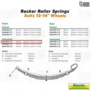 Rocker Roller Springs 5 Leaf Roller Rocker Spring Front – Galvanised Trailer