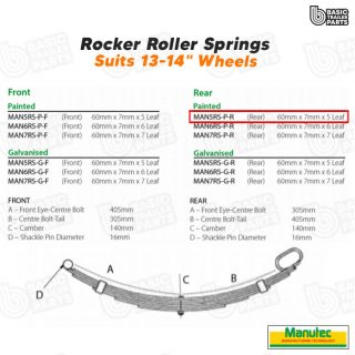 Manutec 5 Leaf Roller Rocker Spring – Painted (Rear) Trailer Caravan Part