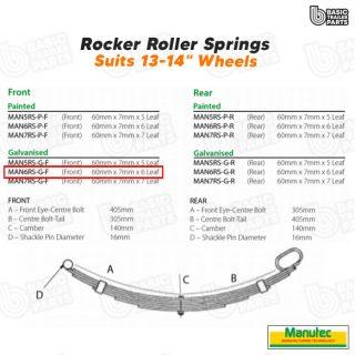 Manutec 6 Leaf Roller Rocker Spring – Galv. (Front) Trailer Caravan Spare Part