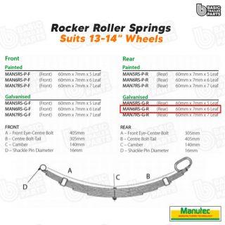 Manutec 6 Leaf Roller Rocker Spring – Galv. (rear) Trailer Caravan Spare Part
