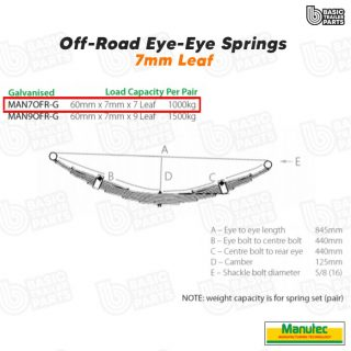 Manutec 7 Leaf Off Road Eye to Eye Spring – Galvanised Trailer Caravan Part