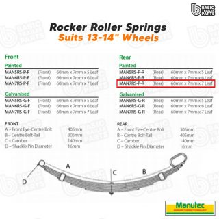 Manutec 7 Leaf Roller Rocker Spring – Painted (Rear) Trailer Caravan Part