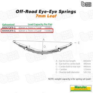 Manutec 9 Leaf Off Road Eye to Eye Spring – Galvanised Trailer Caravan Part
