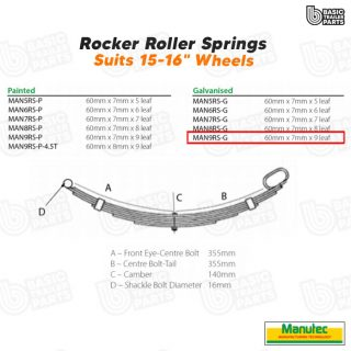 Manutec 9 Leaf Roller RockerSpring – Galvanised Trailer Caravan Spare Part