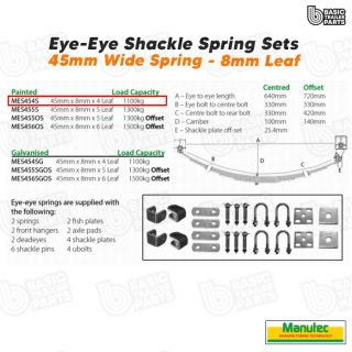 Manutec EYE-EYE Shackle Spring Set 4 Leaf – Painted 1100kg per pr Trailer Part