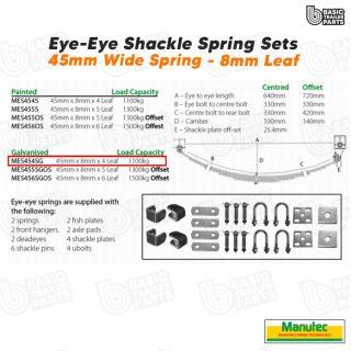 Eye to Eye Springs EYE-EYE Shackle Spring Set 4 Leaf – Galv. 1100kg per pr Parts