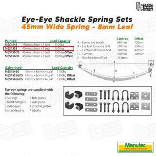 Manutec EYE-EYE Shackle Spring Set 5 Leaf – Painted 1300kg per pr Trailer Part