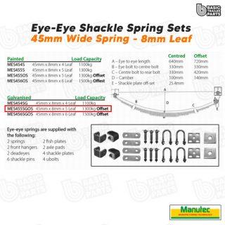 EYE-EYE Shackle Spring Set 5 Leaf – galv 1300kg per pr OFFSET Trailer Caravan