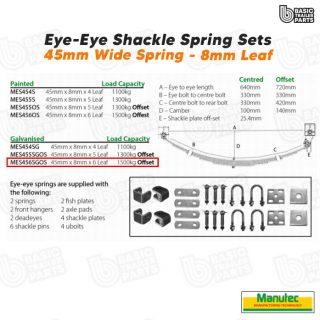EYE-EYE Shackle Spring Set 6 Leaf – galv 1500kg per pr OFFSET Trailer Caravan