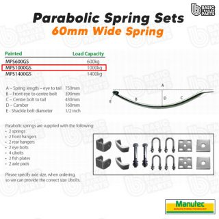Manutec Parabolic Spring Set Trailer Caravan Part