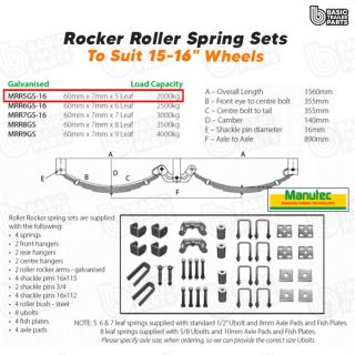 Manutec Roller Rocker Spring Set – 60mmx7mmx5 Leaf, Galv. Trailer Caravan Parts
