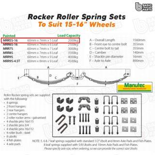 Manutec Roller Rocker Spring Set – 60mmx7mmx5 Leaf, Painted Trailer Caravan Part