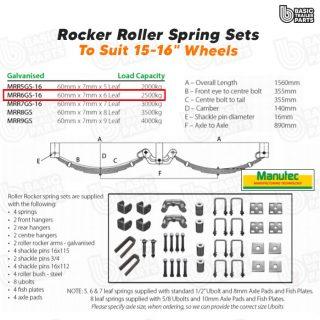 Manutec Roller Rocker Spring Set – 60mmx7mmx6 Leaf, Galv. Trailer Caravan Parts