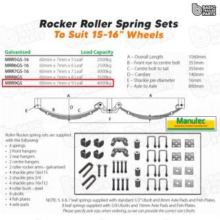 Manutec Roller Rocker Spring Set – 60mmx7mmx9 Leaf, Galv. Trailer Caravan Parts