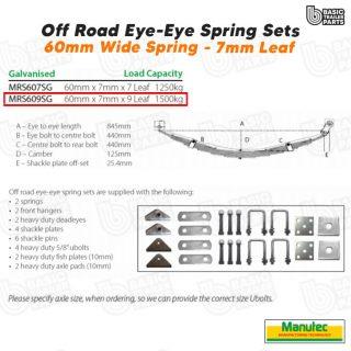 Off Road EYE-EYE Shackle Spring Set 9 Leaf – Galv 1500kg per pr Trailer Caravan