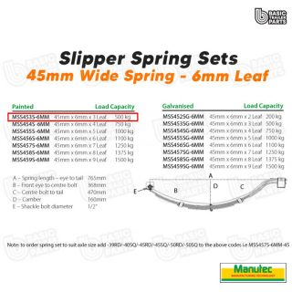 Manutec Slipper Spring Set – 45mmx6mmx3 Leaf, Painted Trailer Caravan Spare Part