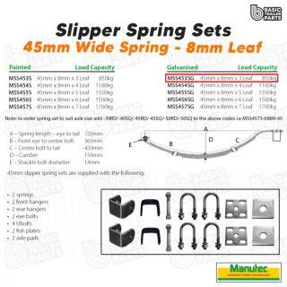 Manutec Slipper Spring Set – 45mmx8mmx3 Leaf, Galv. Trailer Caravan Spare Part