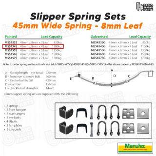 Manutec Slipper Spring Set – 45mmx8mmx4 Leaf, Painted Trailer Caravan Spare Part