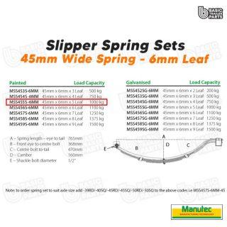 Manutec Slipper Spring Set – 45mmx6mmx5 Leaf, Painted Trailer Caravan Spare Part