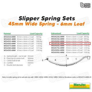 Manutec Slipper Spring Set – 45mmx6mmx5 Leaf, Galv Trailer Caravan Spare Part
