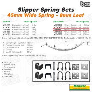 Manutec Slipper Spring Set – 45mmx8mmx5 Leaf, Galv. Trailer Caravan Spare Part