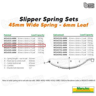 Manutec Slipper Spring Set – 45mmx6mmx6 Leaf, Painted Trailer Caravan Spare Part