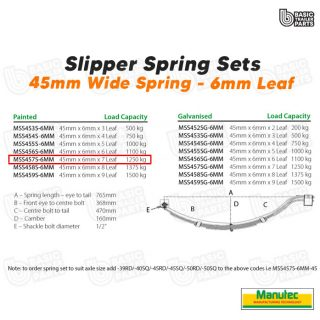 Manutec Slipper Spring Set – 45mmx6mmx7 Leaf, Painted Trailer Caravan Spare Part