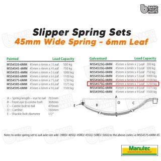 Manutec Slipper Spring Set – 45mmx6mmx7 Leaf, Galv Trailer Caravan Spare Part
