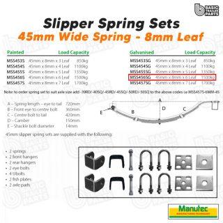 Manutec Slipper Spring Set – 45mmx8mmx7 Leaf, Galv. Trailer Caravan Spare Part
