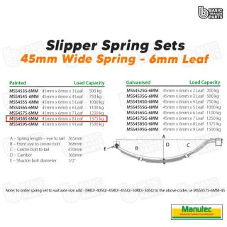 Manutec Slipper Spring Set – 45mmx6mmx8 Leaf Trailer Caravan Spare Part