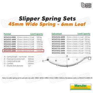 Manutec Slipper Spring Set – 45mmx6mmx9 Leaf Trailer Caravan Spare Part