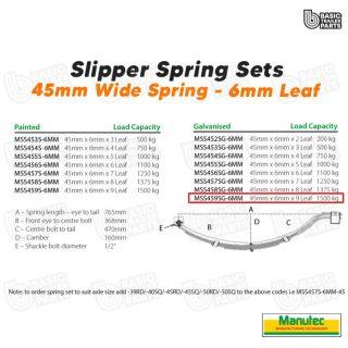 Manutec Slipper Spring Set – 45mmx6mmx9 Leaf, Galv Trailer Caravan Spare Part