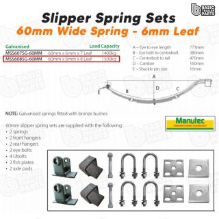 Manutec Slipper Spring Set – 60mmx6mmx8 Leaf, Galv. Trailer Caravan Spare Part