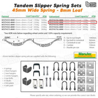 Slipper Spring Sets TandemSlipper Spring Set – 45mmx8mmx4 Leaf, Galv. Trailer