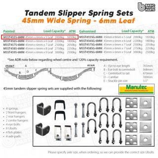 Slipper Spring Sets Tandem Slipper Sring Set – 45mmx6mmx5 Leaf, Painted Trailer
