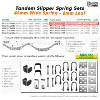 Slipper Spring Sets Tandem Slipper SPring Set – 45mmx6mmx5 Leaf, GALV Trailer