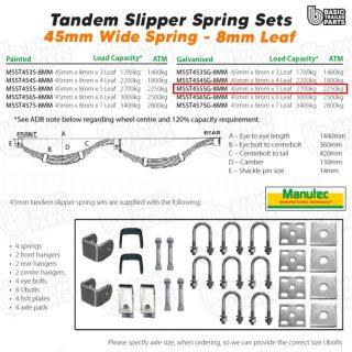 Slipper Spring Sets TandemSlipper Spring Set – 45mmx8mmx5 Leaf, Galv. Trailer