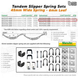 Slipper Spring Sets Tandem Slipper Sring Set – 45mmx6mmx6 Leaf, Galv. Trailer