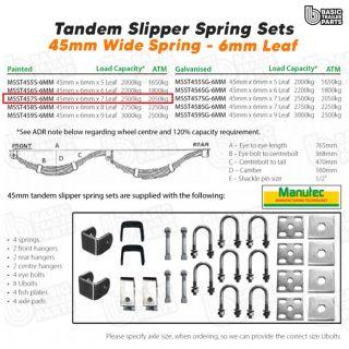 Slipper Spring Sets Tandem Slipper Sring Set – 45mmx6mmx7 Leaf, Painted Trailer