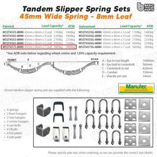 Slipper Spring Sets TandemSlipper Spring Set – 45mmx8mmx7 Leaf, BLACK. Trailer