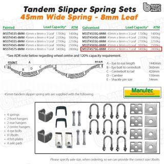 Slipper Spring Sets TandemSlipper Spring Set – 45mmx8mmx8 Leaf, Galv. Trailer