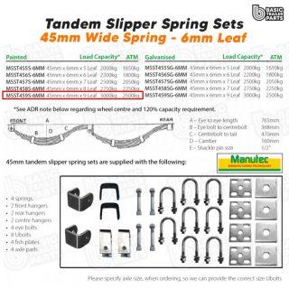 Slipper Spring Sets Tandem Slipper Sring Set – 45mmx6mmx9 Leaf, Painted Trailer