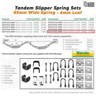 Slipper Spring Sets Tandem Slipper Spring Set – 45mmx6mmx9 Leaf, Galv. Trailer