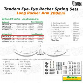Tandem EYE-EYE Rocker Spring Set – Offset 4 Leaf – GALV 2200kg per set Trailer