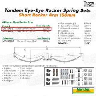 EYE-EYE Rocker Spring Set – 4 Leaf – Painted 2200kg per set Trailer Caravan Part
