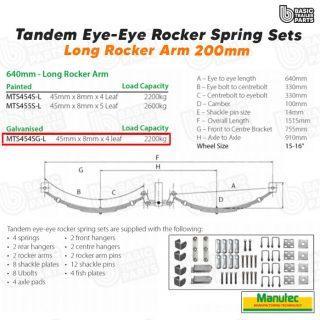 EYE-EYE Rocker Spring Set – 4 Leaf – Galv. 2200kg per set Trailer Caravan Part
