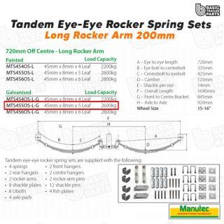 Tandem EYE-EYE Rocker Spring Set – Offset 5 Leaf – GALV 2600kg per set Trailer