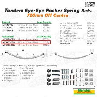 EYE-EYE Rocker Spring Set – Offset 5 Leaf – Galv. 2600kg per set Trailer Caravan